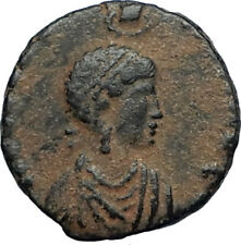 EUDOXIA Arcadius Wife 401AD Authentic Ancient Roman Coin VICTORY CHI-RHO i67520