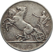 1927 ITALY King Victor Emmanuel III HORSES Silver Italian 10 Lire Coin i74078