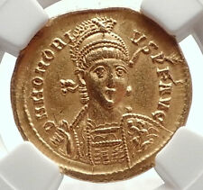 HONORIUS Authentic Ancient 408AD Genuine Original GOLD Roman Coin NGC i71692