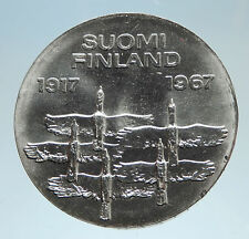 1967 FINLAND Geese Flying 50Y Independence Genuine Silver 10 Markkaa Coin i75150