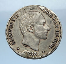 1885 PHILIPPINES under SPAIN King ALFONSO XII Silver 50 Centimos Coin  i69340