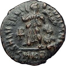 THEODOSIUS I the Great Authentic Ancient Roman Coin VICTORY ANGEL Chi-Rho i71133