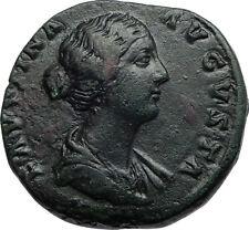 FAUSTINA II Jr Marcus Aurelius Wife Ancient 154AD Sestertius Roman Coin i66958