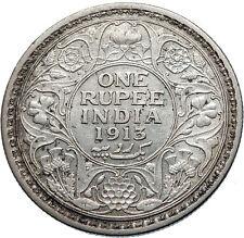 1913 INDIA UK King George V Silver Antique RUPEE Vintage Indian Coin i71867