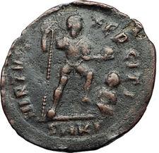 THEODOSIUS I the Great Labarum Captive 383AD Authentic Ancient Roman Coin i69988
