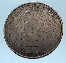 1953 DENMARK King Frederick IX & Queen Ingrid Silver GREENLAND MAP Coin i68570
