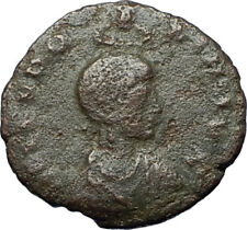 EUDOXIA Arcadius Wife 401AD Authentic Ancient Roman Coin VICTORY CHI-RHO i68197