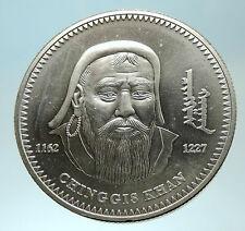 2002 MONGOLIA Conqueror Genghis Kahn Genuine Silver 1000 Tugrik Coin i76611