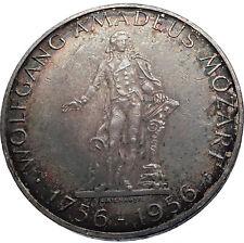 1956 AUSTRIA w Composer Musician Mozart Antique Silver 25 Schilling Coin i71979