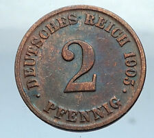 1905 J GERMANY 2 Pfennig Antique German Empire Coin of King WILHELM II i66823