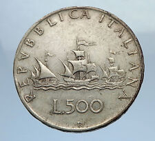 1960 ITALY - CHRISTOPHER COLUMBUS DISCOVER America SILVER Italian Coin i69756