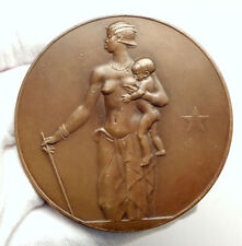 1934 BELGIAN CONGO Bank AFRICAN WOMAN w CHILD & ELEPHANT Antique MEDAL i75122