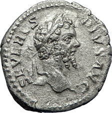 SEPTIMIUS SEVERUS 202AD Rome Authentic Ancient Silver Roman Coin Victory  i70207