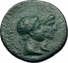Greek King RHOEMETALKES PYTHODORIS w Roman Emperor AUGUSTUS Ancient Coin i73509