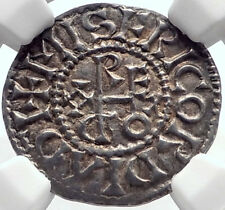 887AD FRANCE Carolingian King ODO Eudes Silver Denier Medieval Coin NGC i71938