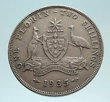 1935 AUSTRALIA UK King George V KANGAROO Genuine Silver Shilling Coin i76203