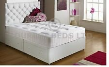 White Quilted Memory Foam Bed Divan Mattress Sprung 4ft Small Double Free P
