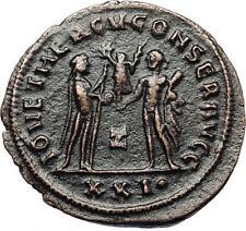 MAXIMIAN Authentic Ancient 285AD Antioch Roman Coin w JUPITER & HERCULES i67427