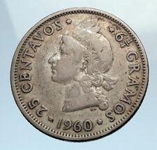 1960 DOMINICAN REPUBLIC Silver Liberty LIBERTO Arms Antique Silver Coin i74364