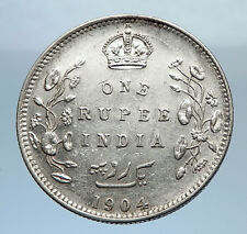1904 King EDWARD VII of United Kingdom EMPEROR British INDIA Silver Coin i71883