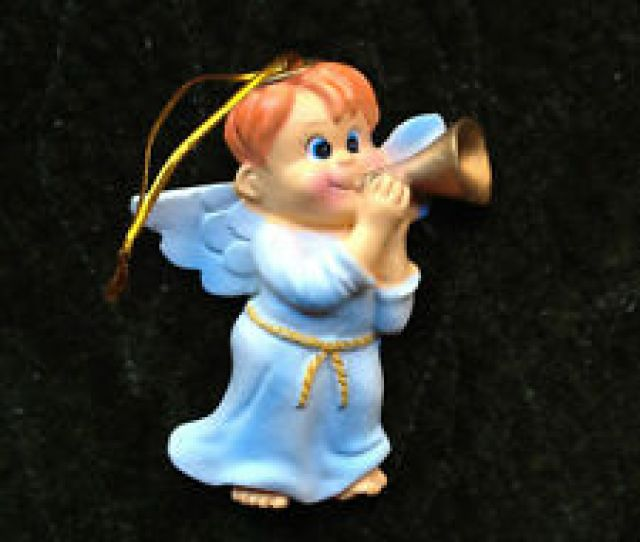 Bugling Angel Christmas Ornament With Redhead Boy Pastel Free Shipping