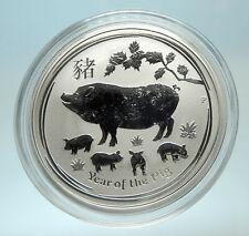 2019 AUSTRALIA Elizabeth II Chinese Zodiac Pig Genuine Silver 50 Ct Coin i76597