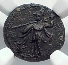 METAPONTION in LUCANIA Authentic Ancient 250BC Greek Coin ATHENA OWL NGC i77284