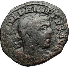 PHILIP I the ARAB Authentic Ancient 247AD Viminacium BULL LION Roman Coin i71147