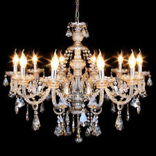 Cognac 10 Arms Crystal Candle Chandelier Pendant Light Ceiling Lamp Fixture E12