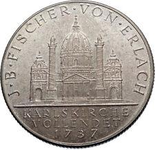 1937 AUSTRIA Vienna Baroque CHURCH St Karl Church KARLSKIRCHE Silver Coin i72455