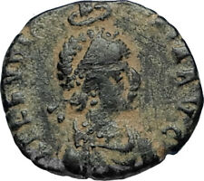 EUDOXIA Arcadius Wife 400AD Authentic Ancient Roman Coin GOD's HAND CROSS i67243