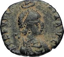 EUDOXIA Arcadius Wife 400AD Authentic Ancient Roman Coin GOD's HAND CROSS i67243