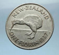 1937 NEW ZEALAND under UK King George VI Silver Florin Coin w KIWI BIRD i68319