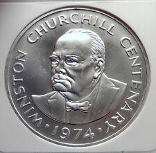 1974 TURKS & CAICOS Silver 20 Crowns WINSTON CHURCHILL CommemorativeNGC i72133