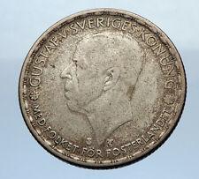 1947 SWEDEN King GUSTAV V ADOLF 1 Krona LARGE Silver SWEDISH Vintage Coin i69348