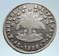 1856 PTS FJ Bolivia LARGE SIMON BOLIVAR Genuine 4 Sol Silver Coin i75328
