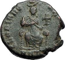 EUDOXIA Arcadius Wife 400AD Authentic Ancient Roman Coin GOD's HAND CROSS i69943