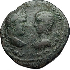 CARACALLA & JULIA DOMNA Genuine Ancient Marcianopolis Roman Coin SERAPIS i71038