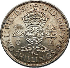1944 United Kingdom Great Britain GEORGE VI Silver Florin 2Shillings Coin i71900