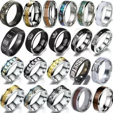 Mens Rings Stainless Steel Wedding Band Ring Gothics Punk Fashion Rings Jewelry