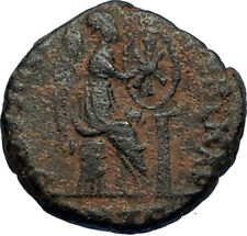EUDOXIA Arcadius Wife 401AD Authentic Ancient Roman Coin VICTORY CHI-RHO i67723