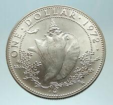 1972 BAHAMAS British Queen Elizabeth II w CONCH SHELL Silver Dollar Coin i76875