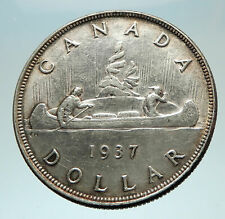 1937 CANADA with UK King George VI Voyagers Genuine Silver Dollar Coin i76558
