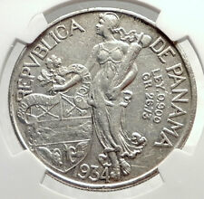 1934 PANAMA Large Silver CONQUISTADOR BALBOA Coin NGC Certified AU DETAIL i71313