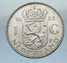1955 NETHERLANDS Queen JULIAN 1 Gulden SILVER Coin CROWNED COAT-of-ARMS i66873