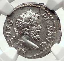 SEPTIMIUS SEVERUS Authentic Ancient 205AD Rome Silver Roman Coin NGC i72639
