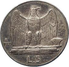 1929 ITALY King Victor Emmanuel III Silver 5 Lire Italian Coin w EAGLE i73948