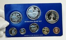 1975 BARBADOS Neptune Windmill Fountain 8 Proof Coin Set 2 are Silver i76390