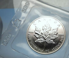 1989 CANADA Authentic Silver 1oz Coin UK Queen Elizabeth II & MAPLE LEAF i70904