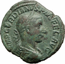 GORDIAN III displays generosity 240AD Sestertius HUGE Ancient Roman Coin i76282